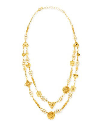 24k Yellow Gold Plated Medallion Ornament Long Necklace - Jose & Maria Barrera