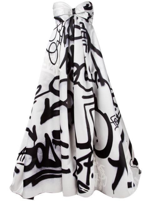 graffiti print gown