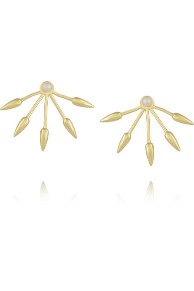5 Spike gold-plated pearl earrings