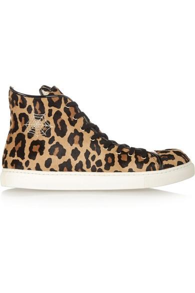 Purrrfect leopard-print calf hair high-top sneakers