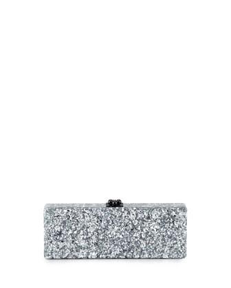 Flavia Confetti Acrylic Clutch Bag, Silver - Edie Parker