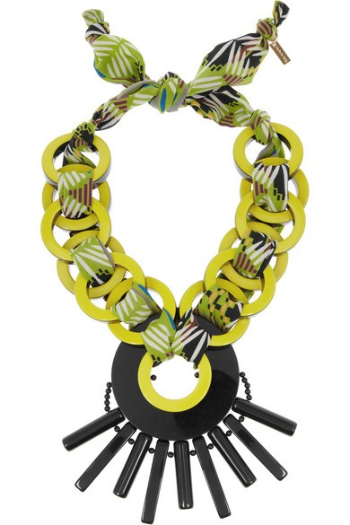 Resin and printed jersey necklace
