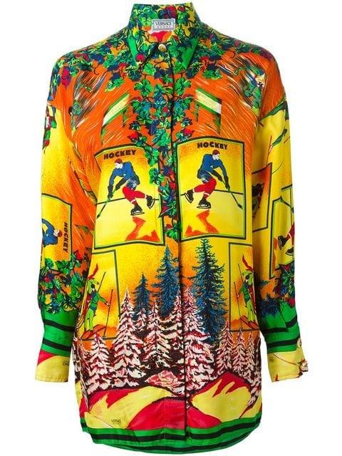 oversized ski print shirt