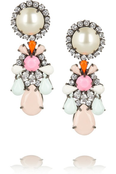Marguerite Swarovski crystal and faux pearl earrings