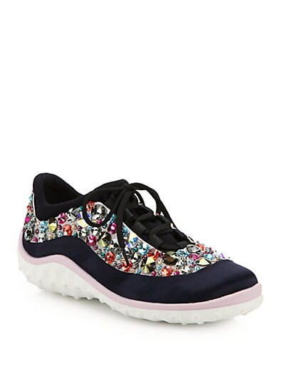 Jeweled Lace-Up Sneakers