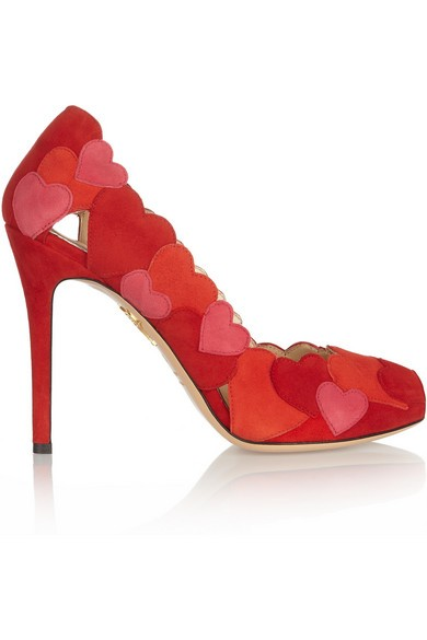 Love Me heart-appliquéd suede pumps