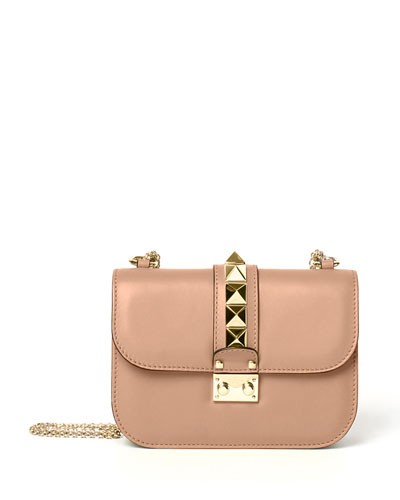 Small Rockstud Leather Shoulder Bag, Skin Sorbet