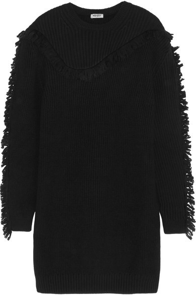 Fringed ribbed wool mini sweater dress