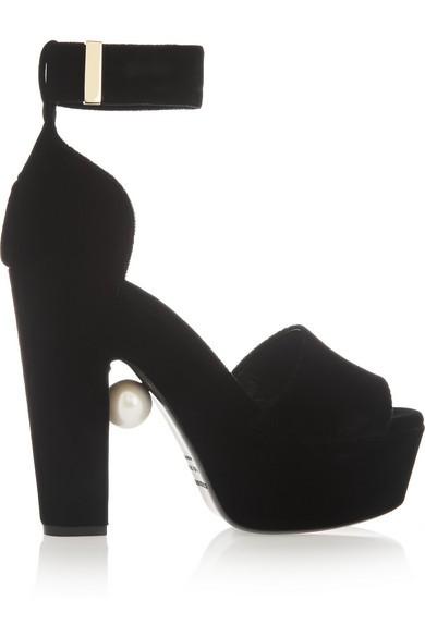 Embellished velvet platform sandals