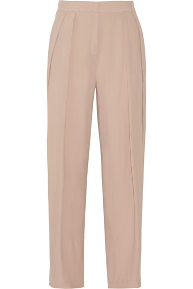 Melanoa pleated crepe wide-leg pants