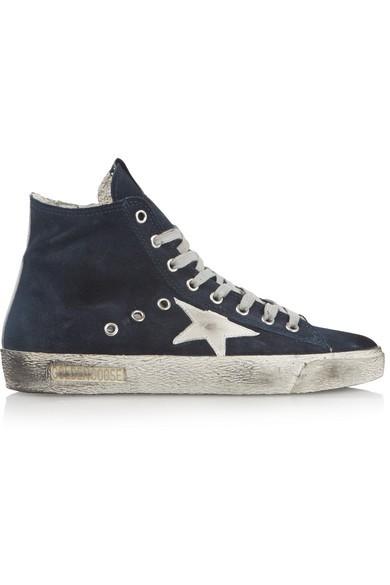 Francy distressed suede high-top sneakers