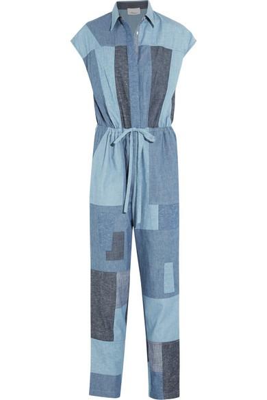 Patchwork cotton-chambray jumpsuit