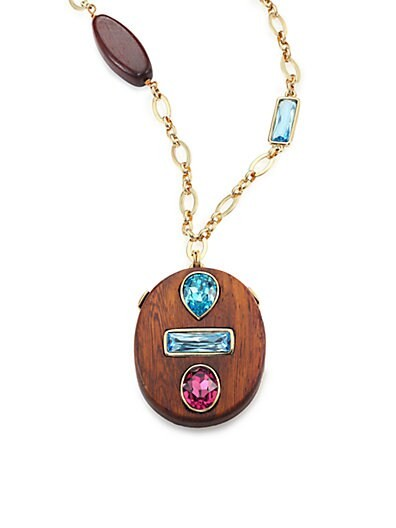 Crystal & Wood Pendant Necklace