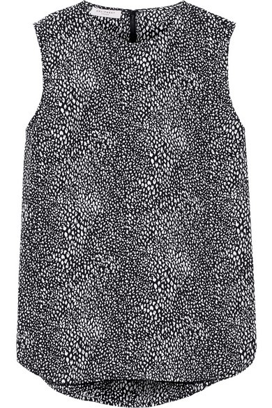 Lyle printed washed-silk top