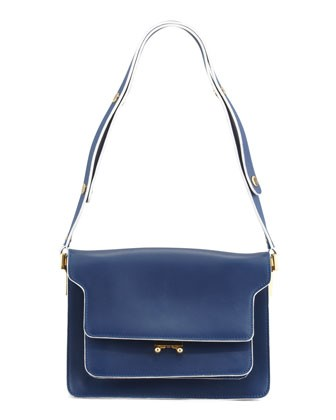 Flap Top Triple-Gusset Shoulder Bag, Navy - Marni
