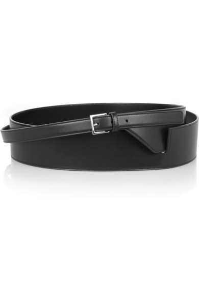Leather wrap-around waist belt
