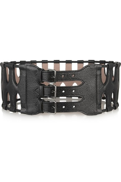 Cutout textured-leather waist belt