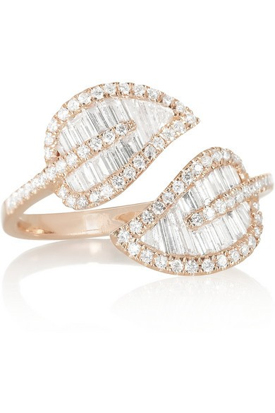 Leaf 18-karat rose gold diamond ring