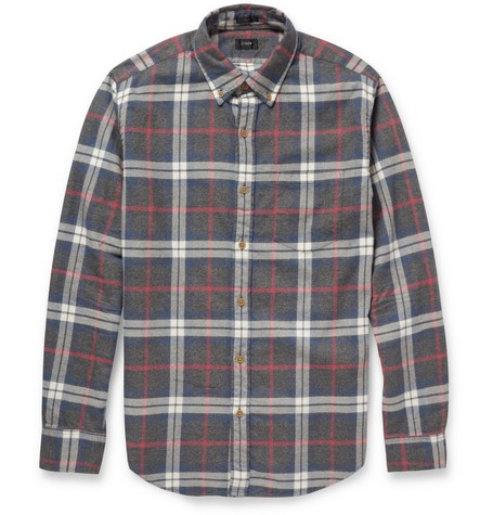 Plaid Button-Down Collar Brushed-Cotton Shirt