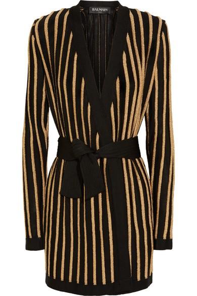 Striped metallic stretch-knit jacketStriped metallic stretch-knit jacket