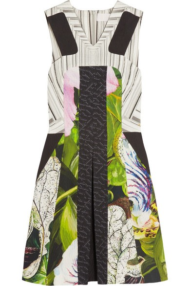 Kristen printed textured cotton-blend dress