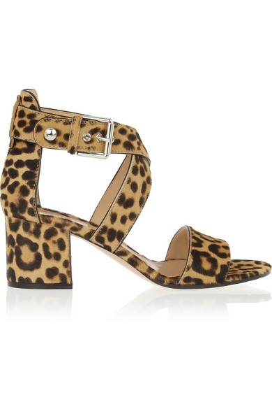 Leopard-print calf hair sandals