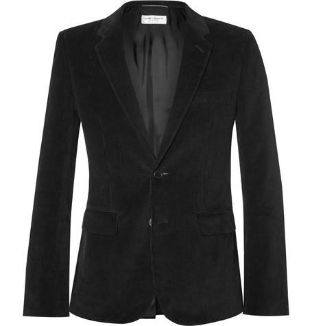 Black Elbow Patch Cotton-Corduroy Blazer