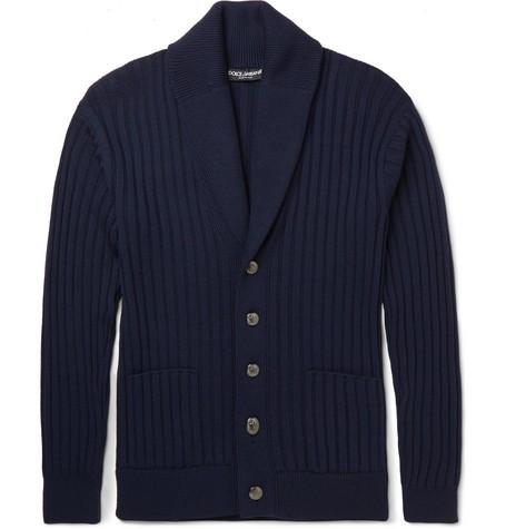 Shawl-Collar Virgin Wool Cardigan