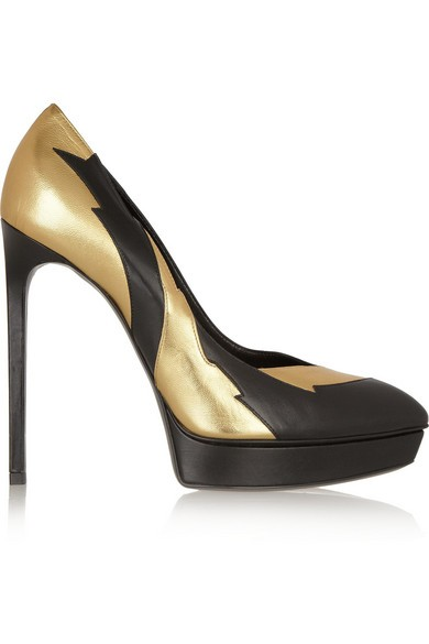 Metallic and matte-leather pumps