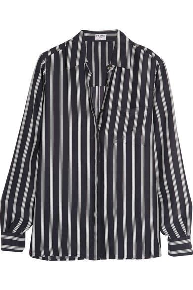 Le Boyfriend striped silk-charmeuse shirt
