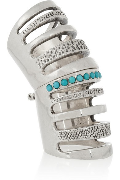 Silver turquoise cage ring
