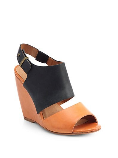 Ashland Bicolor Leather Wedge Sandals