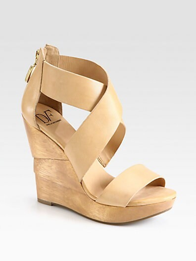 Opal Leather Architectural Wedge Sandals