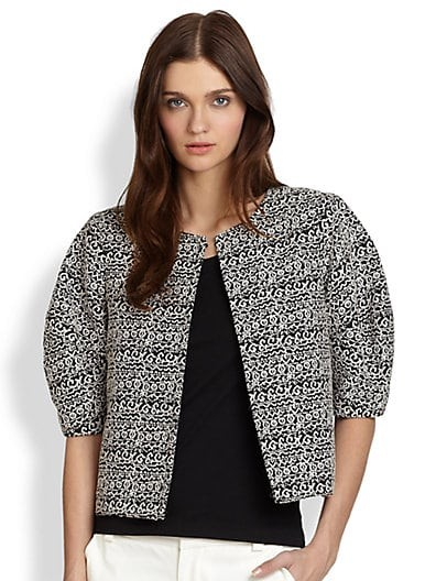 Dunn Cropped Blouson-Sleeved Printed Jacket