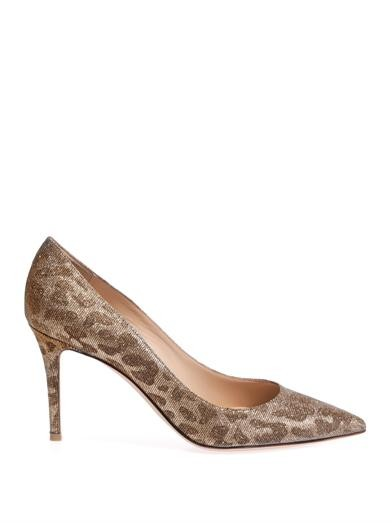 Glitter leopard point-toe pumps