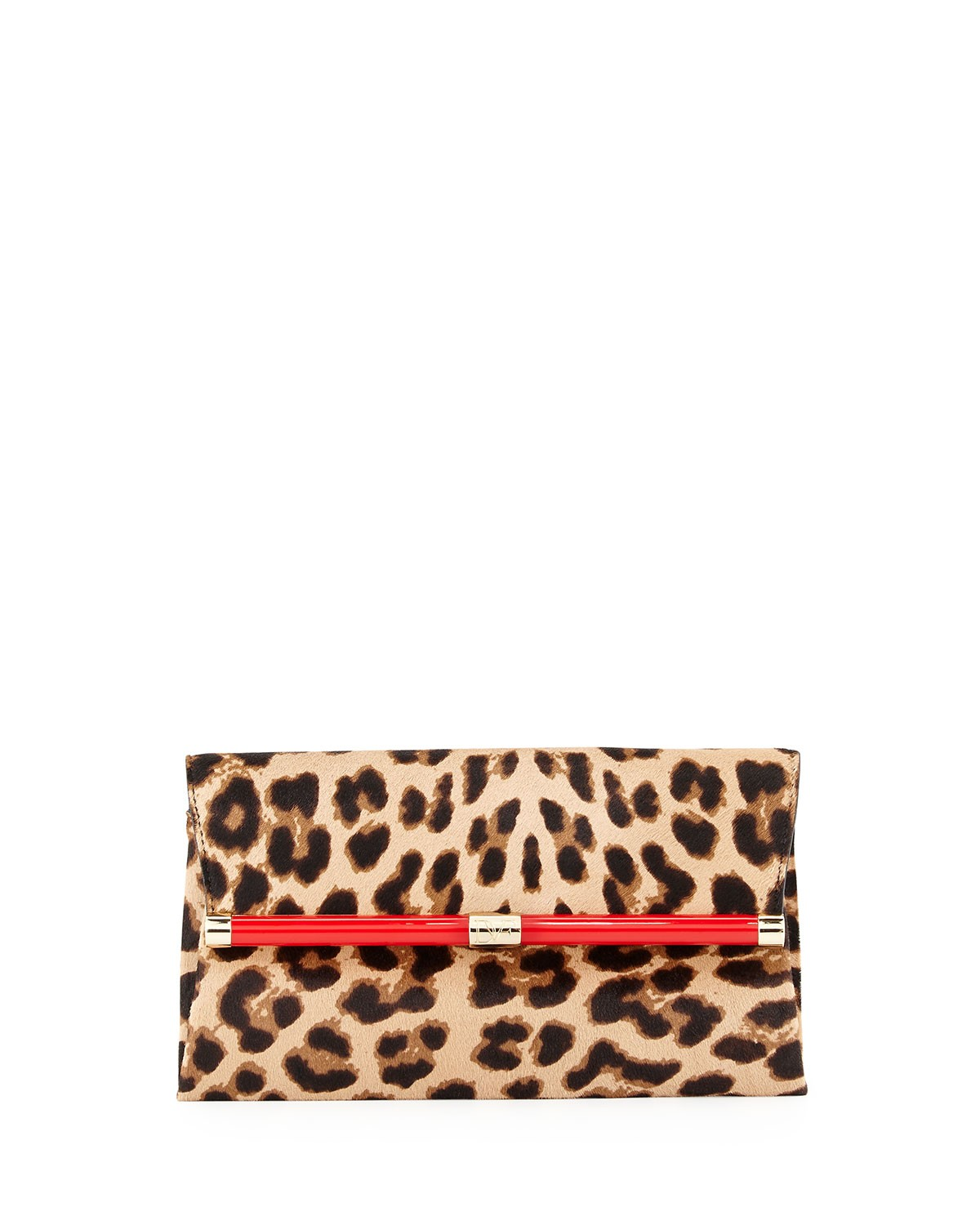 440 Calf Hair Envelope Clutch Bag, Leopard - Diane von Furstenberg