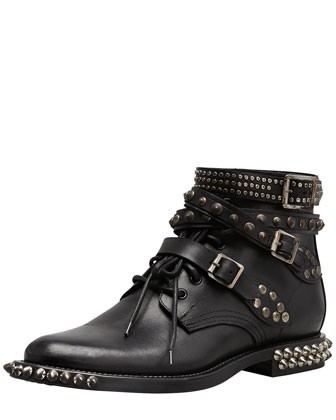 Saint Laurent Studded Low Motorcycle Bootie, Black