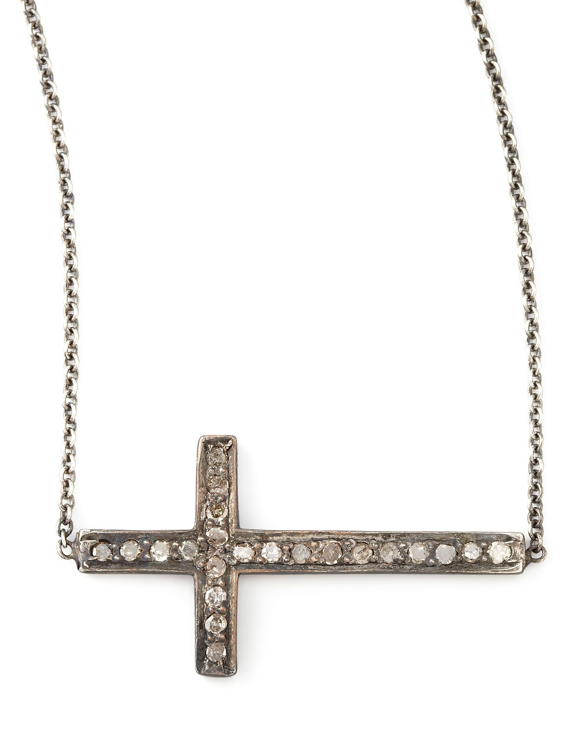 Pave Diamond Cross Necklace - Zoe Chicco - Silver