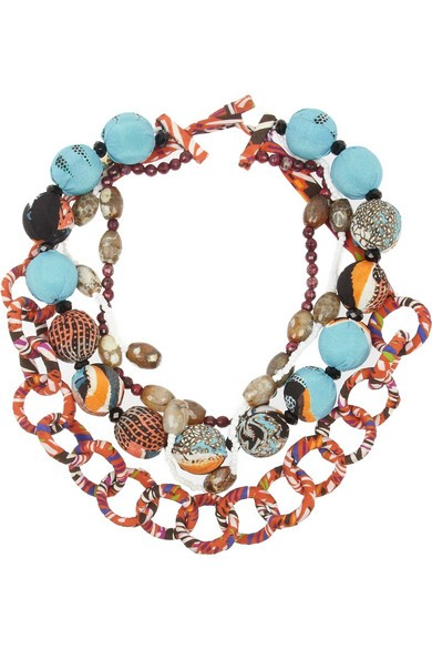 Printed silk and bead necklace