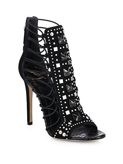 Studded Suede Strappy Sandals