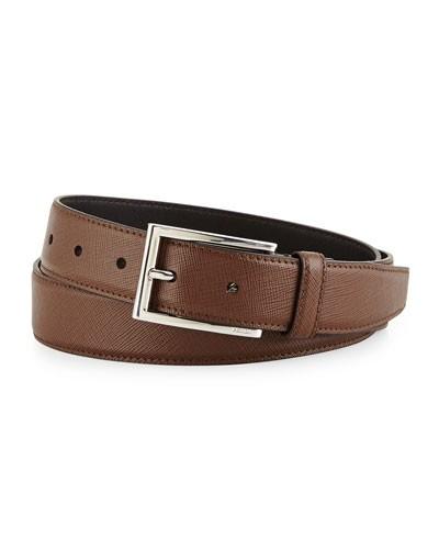 Saffiano Basic Buckle Belt, Brown