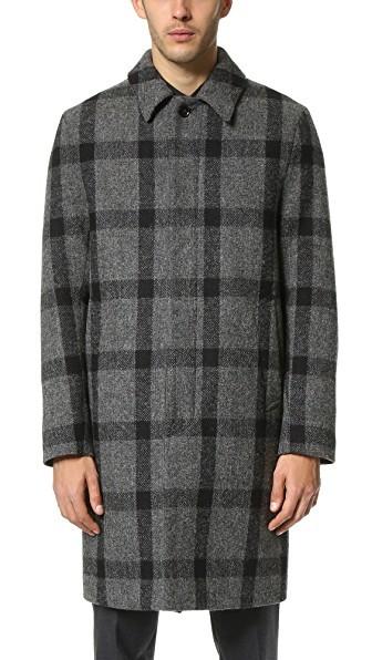 Harris Tweed Windowpane Check Coat