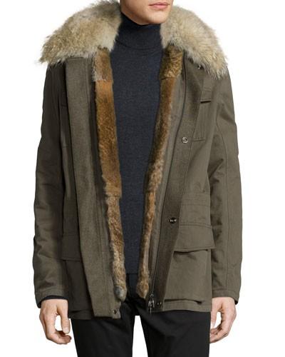 Field Fur-Lined Cargo Jacket, Olive