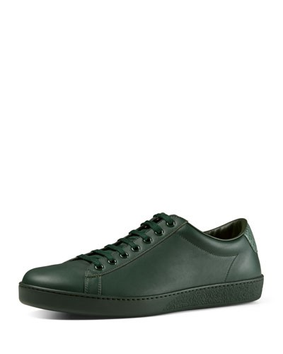 Leather Low-Top Sneaker, Green