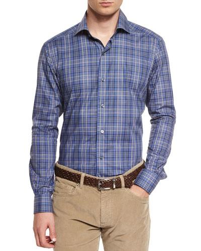 Melange Plaid Long-Sleeve Sport Shirt, Blue