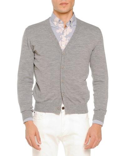 Merino Cardigan Sweater, Light Gray