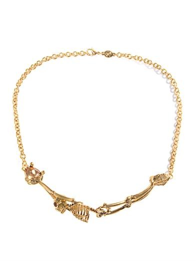 Topaz & gold-tone skeleton necklace