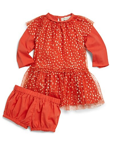 Baby's Two-Piece Star-Print Tulle Dress & Bloomers Set
