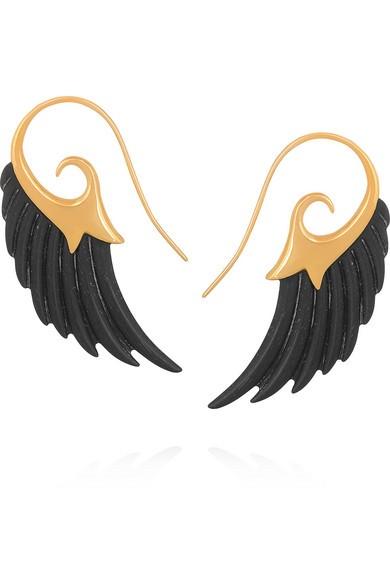 Wing 18-karat gold ebony earrings