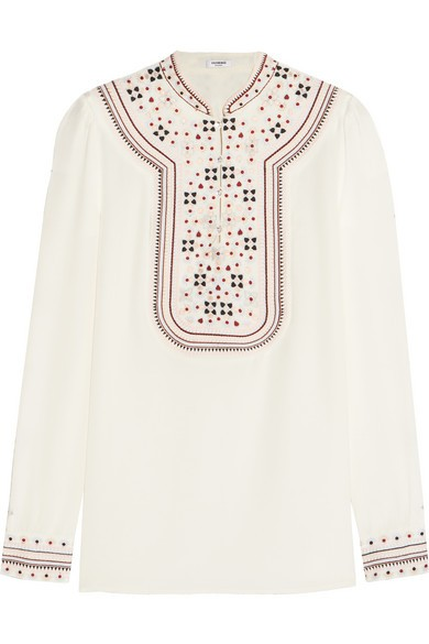 Embroidered silk crepe de chine blouse